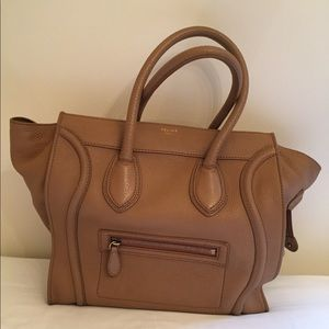 Celine Luggage Camel Mini Calfskin Leather tote